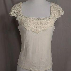 Ralph Lauren Jeans Cream Cotton Crochet Lace Top T